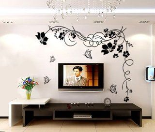 Butterfly Vine Large Flower Wall Stickers / Wall Decals Vinyl Art Decal Floral Decoration (Black) Baby
