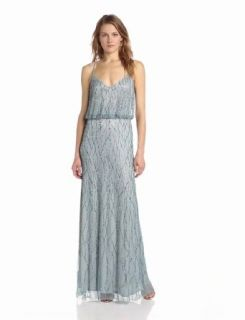 Adrianna Papell Women's Long Halter Blouson Dress, Slate, 10 Clothing