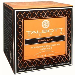 Talbott Teas Soho Earl Grey Sachet (Caffeinated) 12 Pack, Vot 349  Gourmet Food  Grocery & Gourmet Food