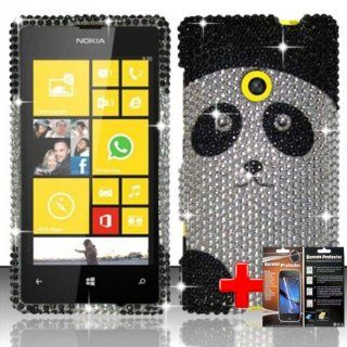 Nokia Lumia 521 (T Mobile) 2 Piece Snap On Rhinestone/Diamond/Bling Image Case Cover, White/Black Cute Cartoon Panda Bear Cover + LCD Clear Screen Saver Protector Cell Phones & Accessories