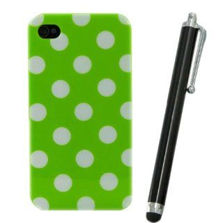 Brightgate NEW Cute WHITE GREEN Polka Dot TPU SNAP ON Hard Case Cover For APPLE iPhone 4/4s With Black Stylus Pen Cell Phones & Accessories