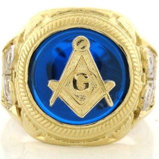 10k Gold Two Tone Mens Synthetic Sapphire Masonic Ring Jewelry