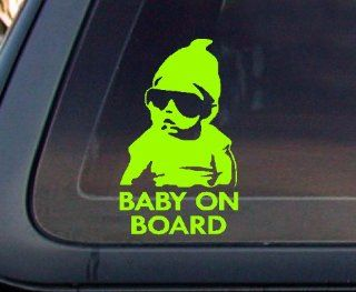 Baby on Board Carlos Hangover Funny Car Decal / Sticker   Lime Green Automotive