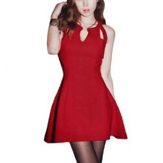 Ladies Sexy Cut Out Neckline Button Closure Pullover Clubwear Dress Clothing