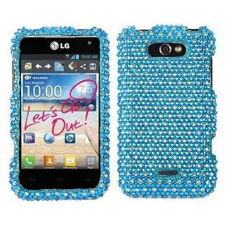 Asmyna LGMS770HPCDM376NP Dazzling Diamante Bling Case for LG Motion 4G/Optimus Regard S770   1 Pack   Retail Packaging   Blue/White Dots Cell Phones & Accessories