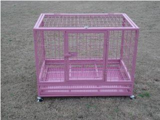 "Best Pet Pink Heavy Duty 36"" Dog/Puppy Crate with Wheels 36"""