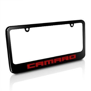 Chevrolet Red Camaro Black Metal License Plate Frame, Official Licensed Automotive