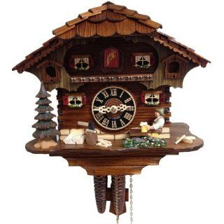 "German Black Forest Cuckoo Clock with Animated Beer Drinker  10.5"" Tall  Walnut Stained Case"