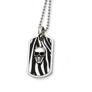 Men's Stainless Steel Enameled Skull Dog Tag Necklace Jewelry