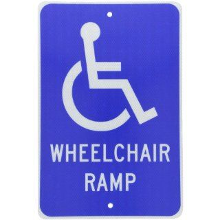 "NMC TM86J Handicap Parking Sign, Legend ""WHEELCHAIR RAMP"" with Handicapped Symbol, 12"" Length x 18"" Height, Engineer Grade Prismatic Reflective Aluminum 0.080, White on Blue"