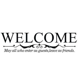 "WELCOME MAY ALL WHO ENTER AS GUESTS LEAVE AS FRIENDS Vinyl wall lettering stickers quotes and sayings home art decor decal   Size 16.3"" H x 24.5"" W"