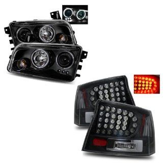 06 08 Dodge Charger Black CCFL Halo Projector Headlights + LED Tail Lights Combo Automotive