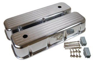 Racer Performance 1965 95 Chevy Big Block 396 427 454 502 Tall Polished Aluminum Valve Covers   Ball Milled Automotive