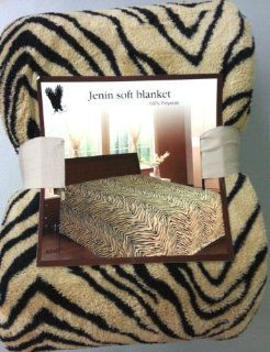Queen Zebra Fleece Blanket Brown Soft Plush Animal Print Microfiber Throw Blankets   Bed Throws Queen