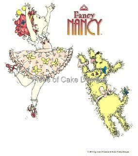 "2"" Round ~ Fancy Nancy & Dog Frenchy Birthday ~ Edible Image Cake/Cupcake Topper Grocery & Gourmet Food"