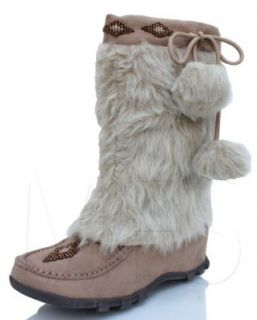 Womens Mukluk Fur Suede Mocassin Flat Boots Taupe Soda Sku size 5.5 10 11 Shoes