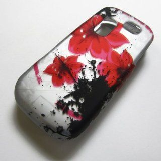 RUBBERIZED HARD PHONE CASES COVERS SKINS SNAP ON FACEPLATE PROTECTOR FOR SAMSUNG SGH T404G STRAIGHT TALK NET10 TRACFONE  OR GRAVITY 2 II SGH T469 T.MOBILE Slide / RED FLOWER ON SILVER (WHOLESALE PRICE) Cell Phones & Accessories