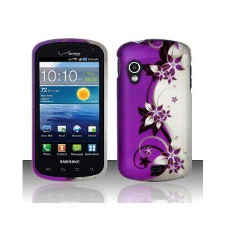 Purple Silver Flower Hard Cover Case for Samsung Galaxy S Stratosphere SCH i405 Cell Phones & Accessories