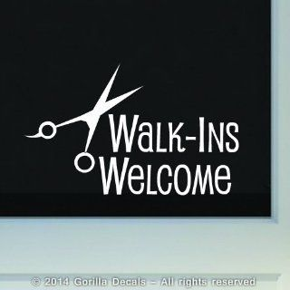 WALK INS WELCOME Hair Salon Barber Shop Store Front Door Sign Vinyl Decal Sticker WHITE