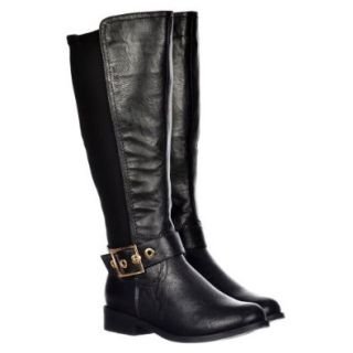 Onlineshoe Women's Extra Wide Calf Knee High Flat Gold Buckle Riding Boot Shoes