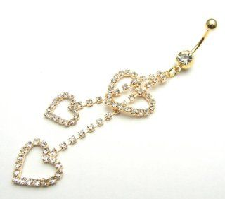 SALE OUT Limited STOCK 2014 model TJ050A Triple Hearts RS Golden 316L Steel Navel Belly Ring Body Piercing Health & Personal Care