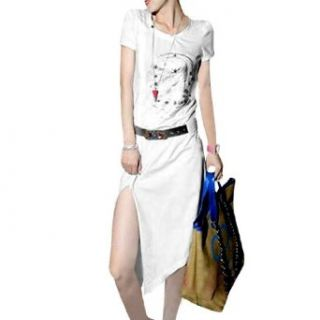 Women Round Neck Short Sleeve Foil Skull Pattern Knee Length Dress Clothing