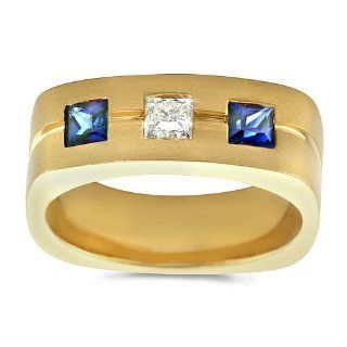 Men's Diamond Ring   Men's Trio Sapphire/Diamond Ring in 18k Yellow Gold (.20 dia / .40 sap ct. tw. / G Color / VS1 VS2 Clarity) CleverEve Jewelry