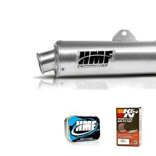 HMF Yamaha Grizzly 660 (02 08) BUNDLE Performance Series Slip On BRUSHED ALUMINUM Exhaust System  HMF Jet Kit + K&N Air Filter Automotive