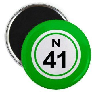 Bingo Ball N41 FORTY ONE Green 2.25 inch Fridge Magnet