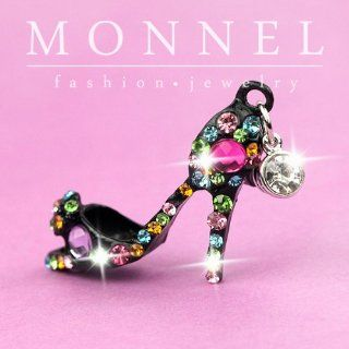 ip421 Cute Black High Heel Shoe Cham Anti Dust Plug Cover Charm for iPhone Cell Phone Cell Phones & Accessories