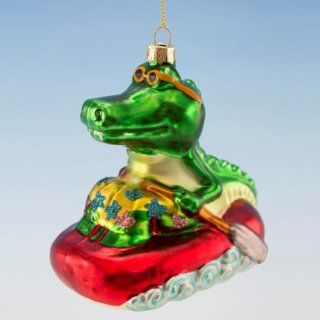"Christmas Ornament   Blown Glass Alligator in a Raft   4"" X 4.25""   Decorative Hanging Ornaments"