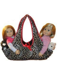 Leopard Print Doll Tote Carrying Bag Holds 2 18 inch American Girl Dolls, Gotz or Battat Toys & Games