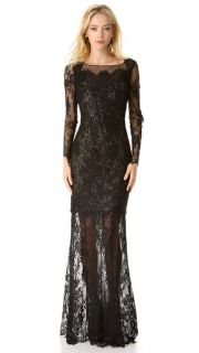 Notte by Marchesa Long Sleeve Lace Gown