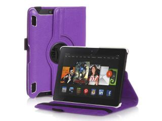 "360 Degree Rotating PU Leather Stand Smart Case Cover For  Kindle Fire HDX 7"" 7 2013 Model Purple"