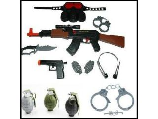 Kids AK47 Swat Set with tons of accessories + 3 Realistic Sounding, Ticking, and Exploding Grenades + Stainless Steel Metal Handcuffs Toy Guns, toy gun