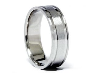 Mens Flat Brushed 14K White Gold Comfort Fit Wedding Ring Band 7 12