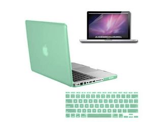 3 in 1 MacBook Pro® 13 inch A1278 Accessory Kit: Rubberized Ocean Green Hard Case + Protective Keyboard Cover + Anti Glare Screen Protector   New