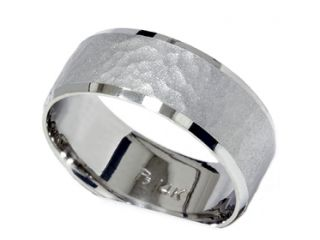 10MM WIDE MENS HAMMERED COMFORT FIT SOLID 14K WHITE GOLD FLAT WEDDING RING BAND