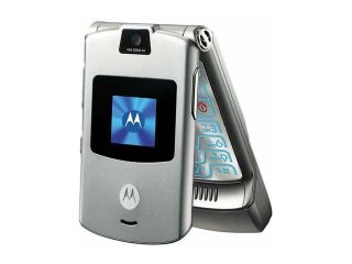 Motorola RAZR Gray unlocked GSM Flip phone with stylish design (V3)