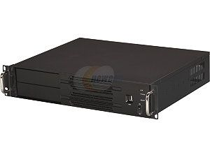 "Open Box Athena Power RM 2U200H708 Black Aluminum Front Panel 2U Rackmount Server Case w/ 2U 700W 80 PLUS BRONZE 2 External 5.25"" Drive Bays, compact size under 14"" Depth"