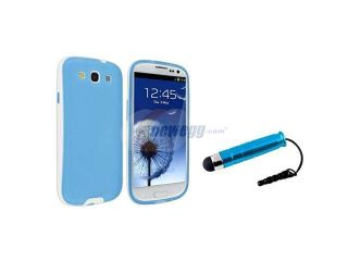 Insten Sky Blue/White Gel TPU Rubber Case + Stylus Pen Compatible With Samsung Galaxy SIII / S3